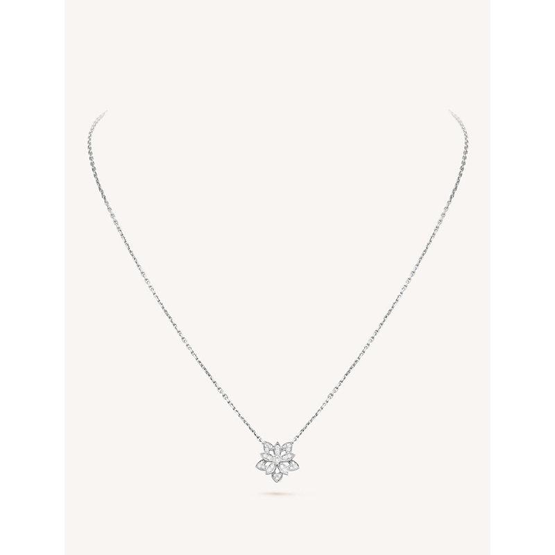 VAN CLEEF & ARPELS | Lotus Openwork White-Gold And Diamond Pendant Necklace | Goxip
