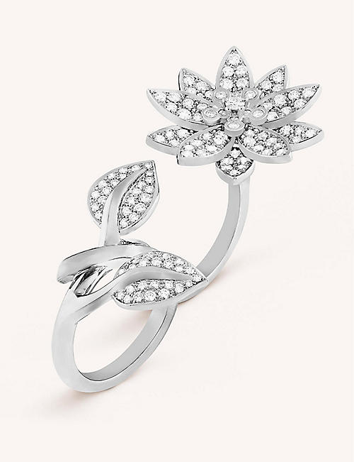 543d0948fa9be VAN CLEEF   ARPELS Lotus Between the Finger white gold and diamond ring