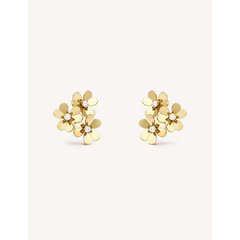 VAN CLEEF & ARPELS | Frivole Yellow-Gold And Diamond Earrings | Goxip