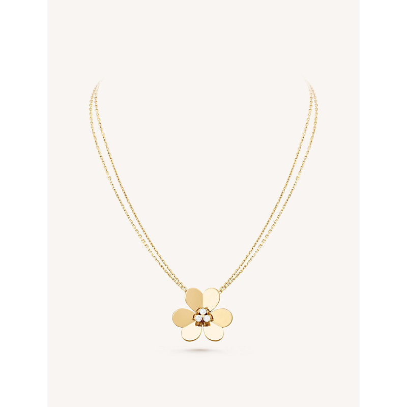 VAN CLEEF & ARPELS | Frivole Pendant Very Large Yellow-Gold And Diamond Necklace | Goxip