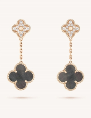 VAN CLEEF & ARPELS Magic Alhambra rose-gold, Mother of Pearl and diamond earrings