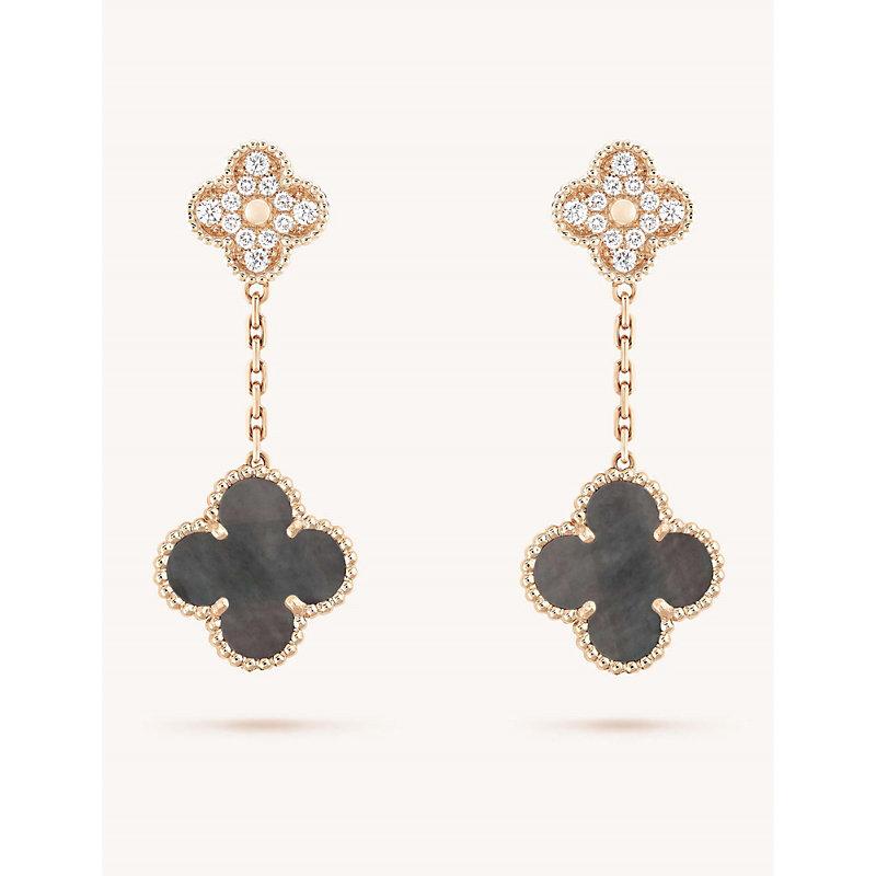 VAN CLEEF & ARPELS | Magic Alhambra Rose-Gold, Mother Of Pearl And Diamond Earrings | Goxip