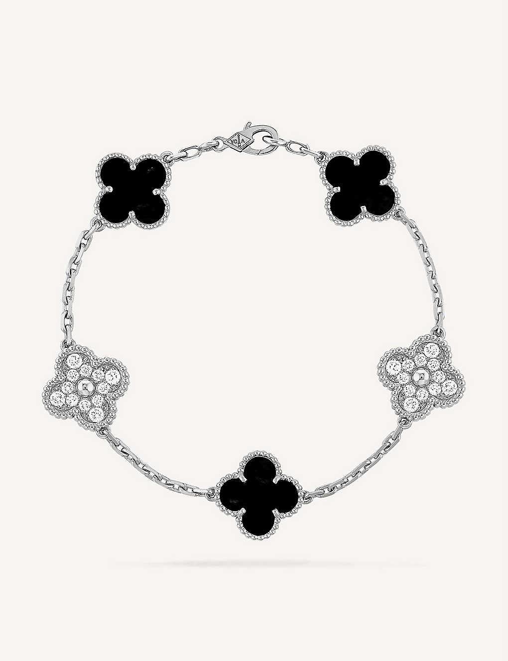 0af580803d85d4 Vintage Alhambra white-gold, Onyx and diamond bracelet - Pink gold ...