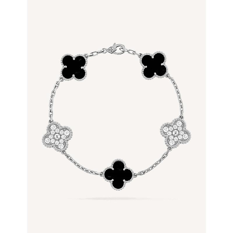 VAN CLEEF & ARPELS | Vintage Alhambra White-Gold, Onyx And Diamond Bracelet | Goxip