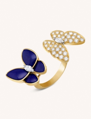 VAN CLEEF & ARPELS Two Butterfly Between The Finger 18ct yellow-gold, lapis lazuli and diamond