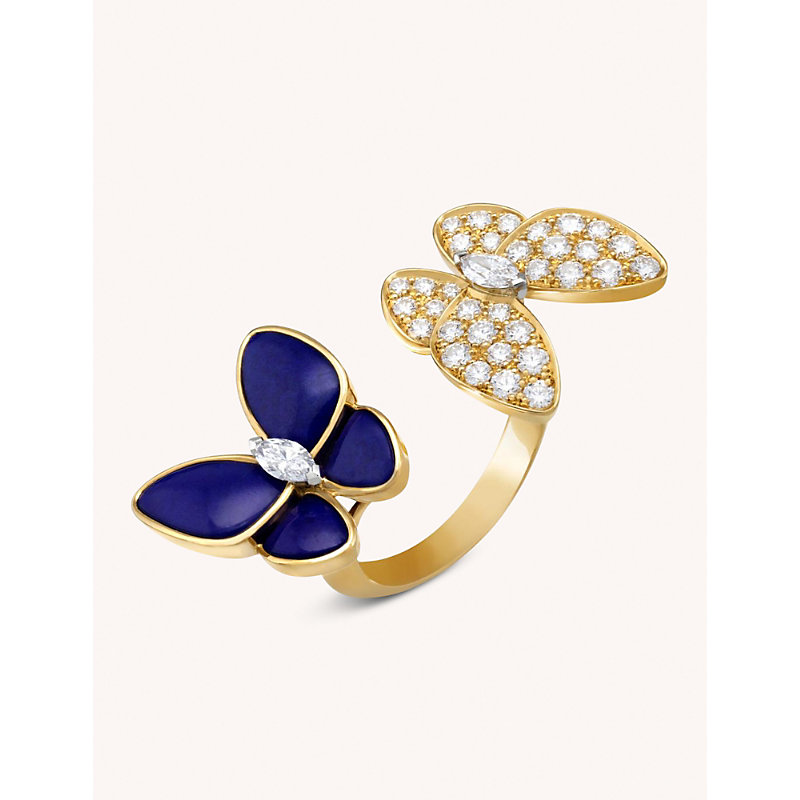 VAN CLEEF & ARPELS | Two Butterfly Between The Finger 18ct Yellow-Gold, Lapis Lazuli And Diamond | Goxip
