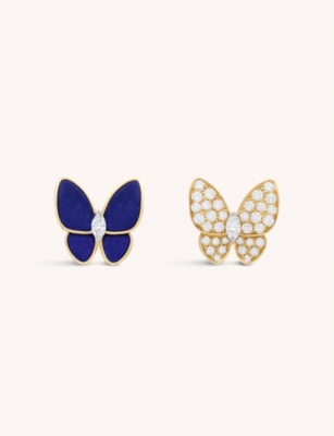 VAN CLEEF & ARPELS Two Butterfly 18ct yellow-gold, lapis lazuli and diamond earrings