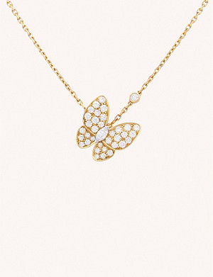 VAN CLEEF & ARPELS Two Butterfly 18ct yellow-gold and diamond pendant