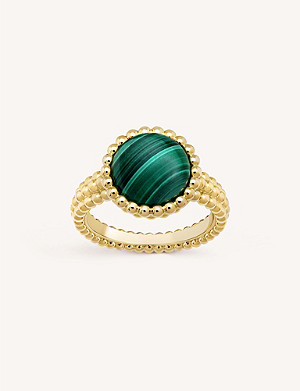 VAN CLEEF & ARPELS Perlée gold and malachite ring