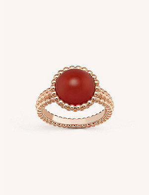 VAN CLEEF & ARPELS Perlée Couleurs rose-gold and carnelian ring