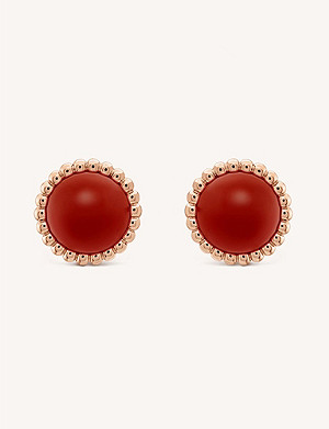VAN CLEEF & ARPELS Perlée Couleurs rose-gold and carnelian stud earrings