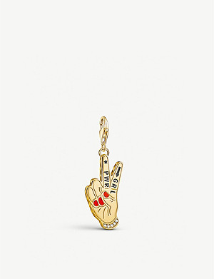 THOMAS SABO Girl Power sterling-silver, 18ct yellow-gold and zirconia charm pendant