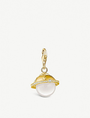 THOMAS SABO Charm club planet 18ct yellow gold-plated and quartz charm pendant