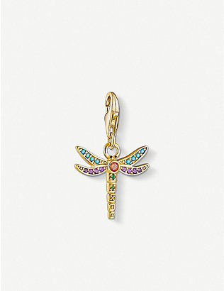 THOMAS SABO: Dragonfly gold-plated silver pendant charm