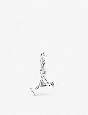 THOMAS SABO Cocktail glass zirconia and sterling silver charm pendant