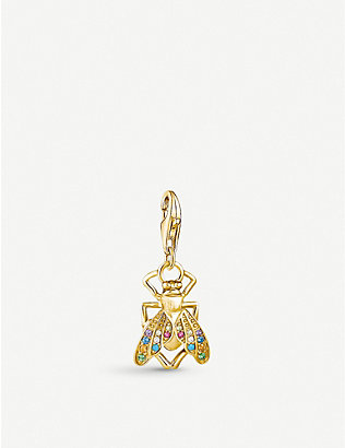 THOMAS SABO: Fly yellow gold-plated and gemstone charm