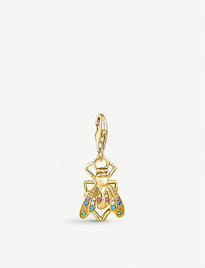 THOMAS SABO Fly yellow gold-plated and gemstone charm