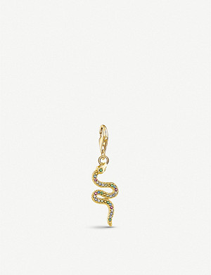 THOMAS SABO Snake yellow gold-plated and gemstone charm