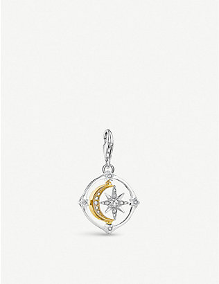 THOMAS SABO: Compass moon and star sterling silver, yellow gold and zirconia charm