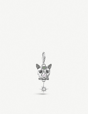 THOMAS SABO Cat Head embellished sterling silver and gemstone charm