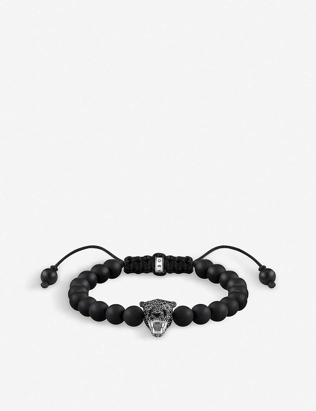 THOMAS SABO: Rebel at Heart sterling silver and obsidian Cat bracelet