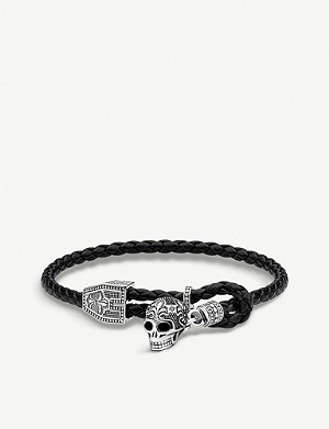 THOMAS SABO Rebel at Heart sterling silver and leather Skull bracelet