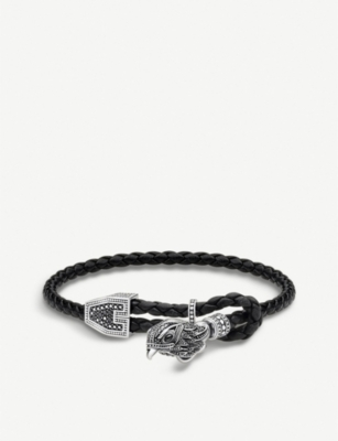 THOMAS SABO Rebel at Heart sterling silver and leather Falcon bracelet