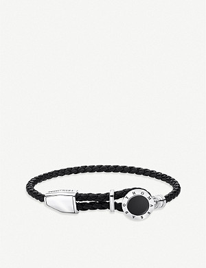 THOMAS SABO Rebel at Heart sterling silver, onyx and leather bracelet