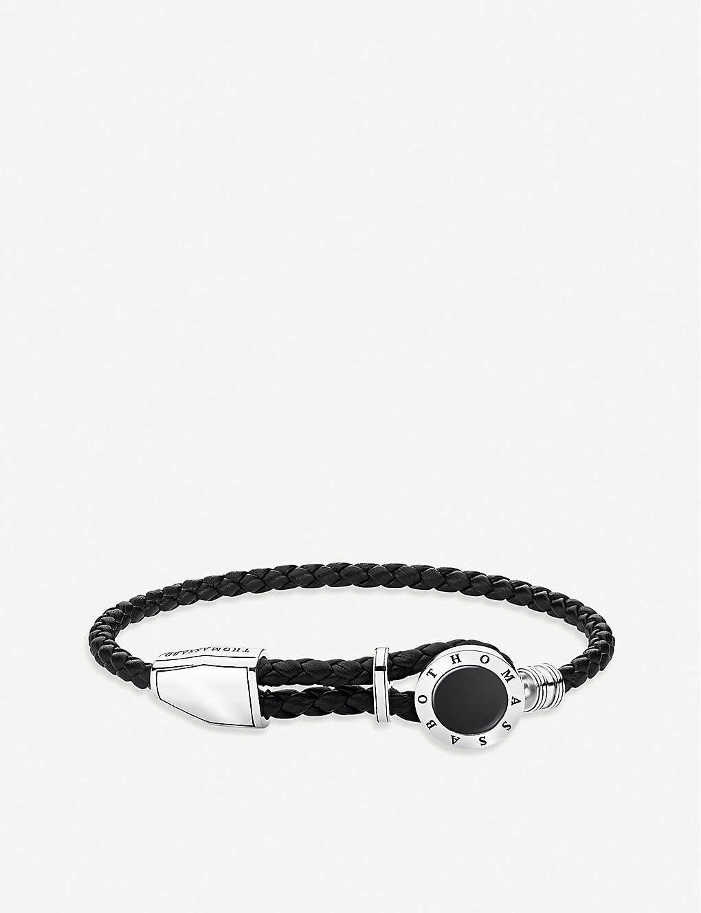 THOMAS SABO: Rebel at Heart sterling silver, onyx and leather bracelet
