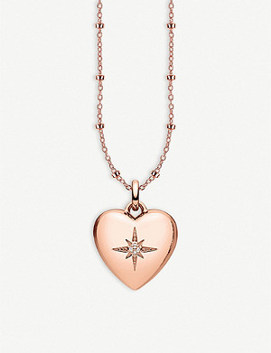 THOMAS SABO Heart 18ct rose gold-plated and diamond locket necklace