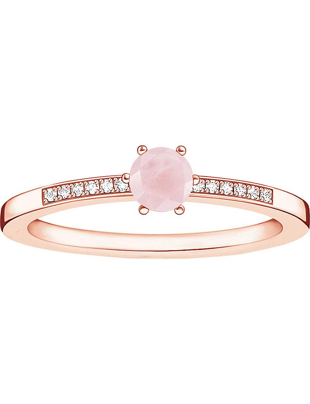 539425c4b THOMAS SABO Glam & Soul 18ct rose gold-plated, rose quartz and diamond ring