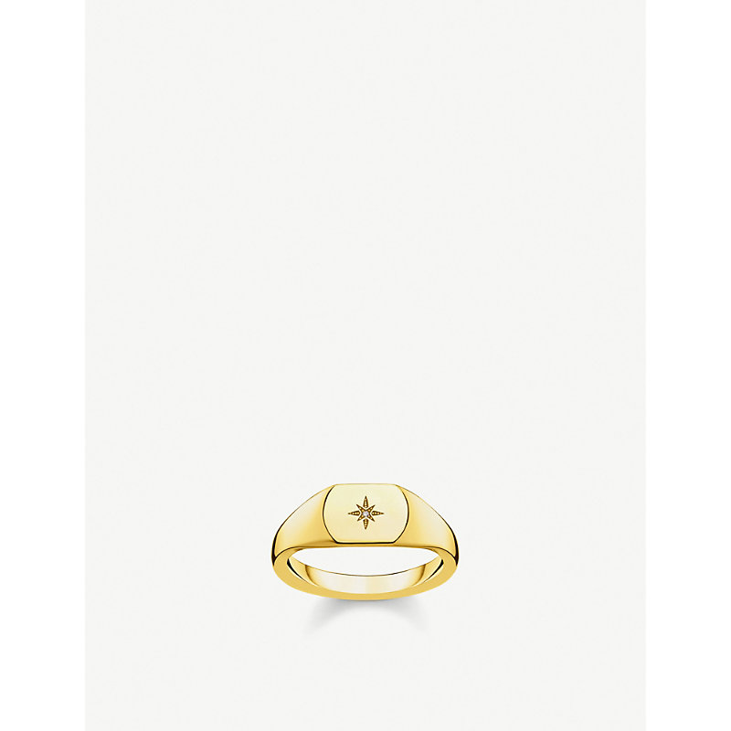 THOMAS SABO | Vintage Star 18ct Yellow Gold-Plated And Diamond Signet Ring | Goxip