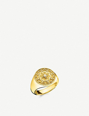 THOMAS SABO Vintage Compass 18ct yellow gold-plated and diamond signet ring