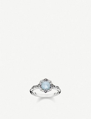 THOMAS SABO Vintage sterling silver, diamond and milky aquamarine ring