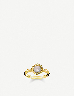 THOMAS SABO Vintage collection diamond-embellishment 18-ct yellow gold-plated sterling silver ring