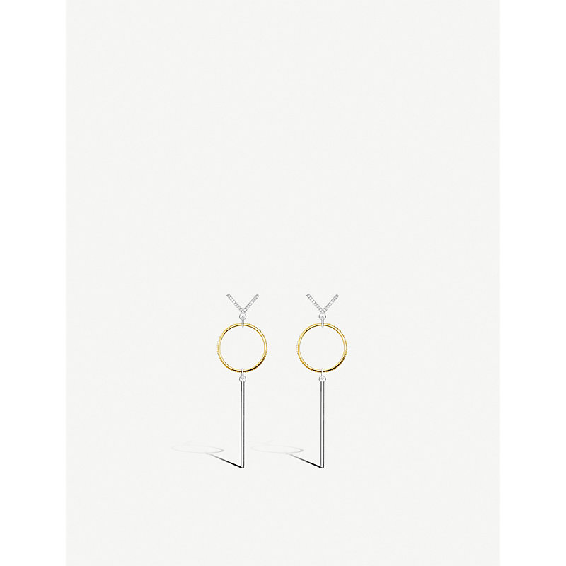 THOMAS SABO | Circle Sterling Silver And 18ct Yellow-Gold Drop Earrings | Goxip