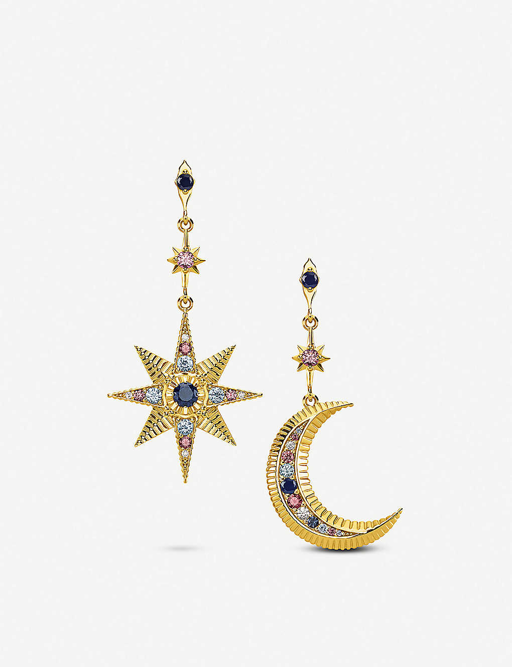 51c13f5e1 THOMAS SABO Kingdom of Dreams Royalty Star & Moon 18ct yellow-gold plated  sterling silver earrings