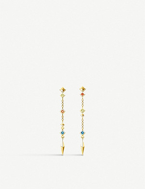 THOMAS SABO Paradise drop 18ct yellow gold-plated and coloured stone earrings