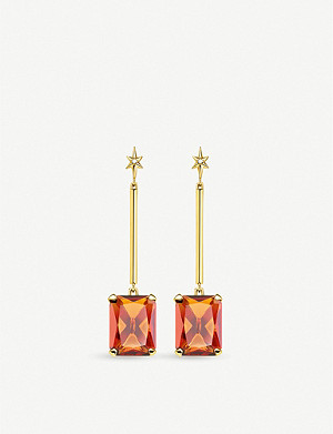 THOMAS SABO 18ct gold-plated and zirconia drop earrings