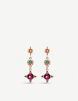 THOMAS SABO Colourful Lucky Symbols 18k rose gold plated sterling silver earrings