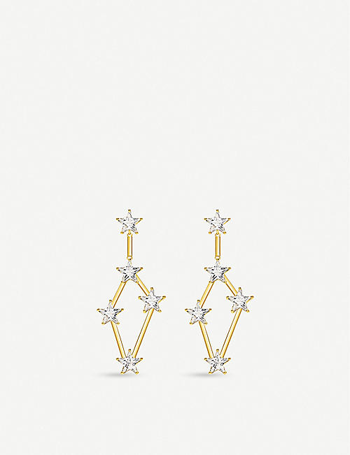 THOMAS SABO: 18ct gold-plated and zirconia earrings