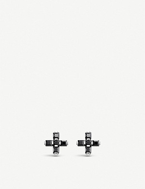 THOMAS SABO Cross black zirconia sterling silver stud earrings