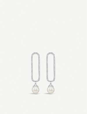 THOMAS SABO Zirconia pearl and sterling silver drop earrings
