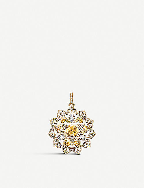 THOMAS SABO: Solar Plexus Chakra 18ct yellow gold, yellow quartz and white diamonds pendant