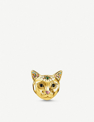 THOMAS SABO 18k yellow gold plated sterling silver and multi-colour stone bead cat