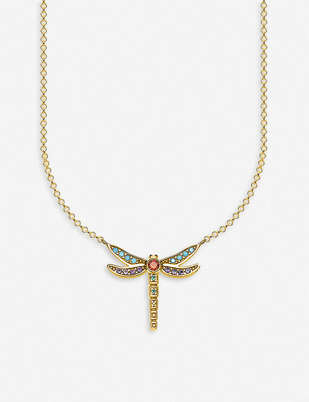 THOMAS SABO: Dragonfly 18ct yellow-gold plated silver neckalce