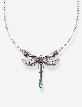 THOMAS SABO: Paradise Colours dragonfly sterling silver necklace