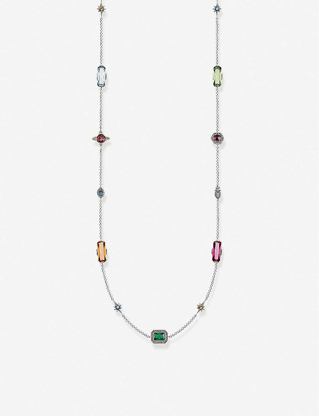THOMAS SABO: Multi-stone sterling silver station necklace