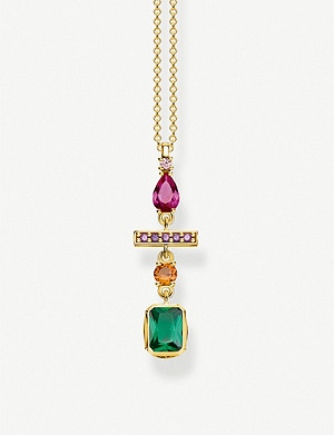 THOMAS SABO Colourful Magic Stones 18k yellow gold-plated sterling silver necklace