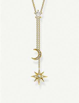 THOMAS SABO: Magic Stars Moon 18ct yellow gold-plated sterling silver necklace